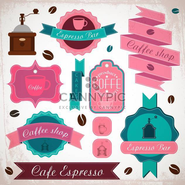 retro coffee badges and labels - Free vector #134008