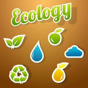 ecology icon set background - vector gratuit #134128