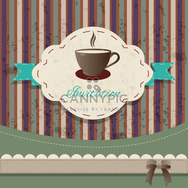 tea party vintage invitation card - Free vector #134238