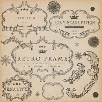 vintage design elements set - vector gratuit #134298