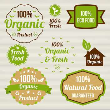 vintage organic food signs - vector #134378 gratis