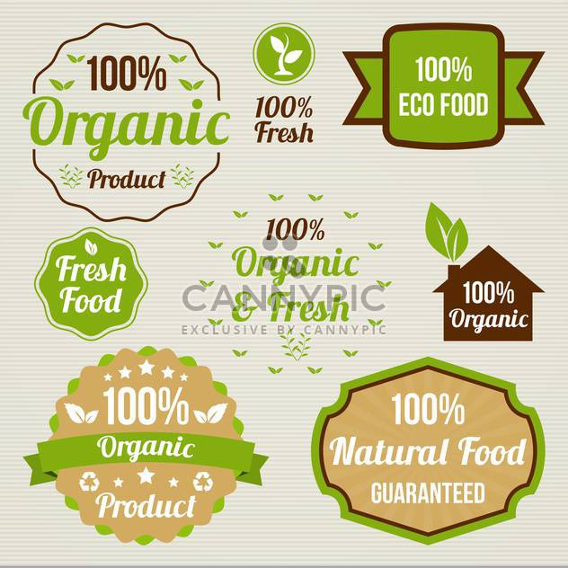 vintage organic food signs - Free vector #134378