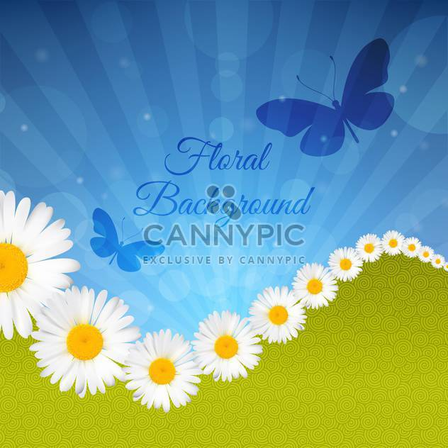vector greeting card with daisies - Free vector #134388