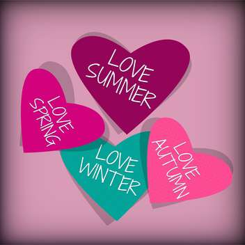 hearts with different seasons inscriptions - vector gratuit #134418