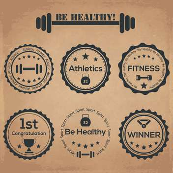 be healthy vintage labels set - vector gratuit #134468