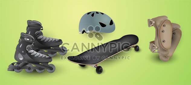 roller skates and protection elements - Free vector #134538