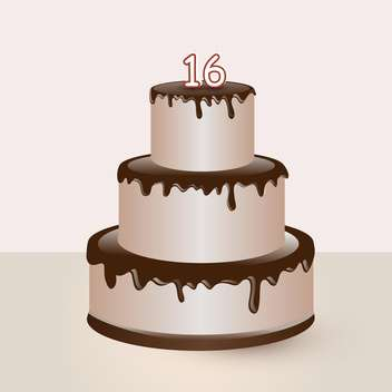 sweet sixteen birthday cake illustration - vector gratuit #134778