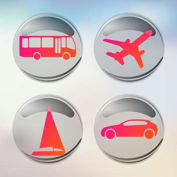 vacation and travel icons set - vector gratuit #134988