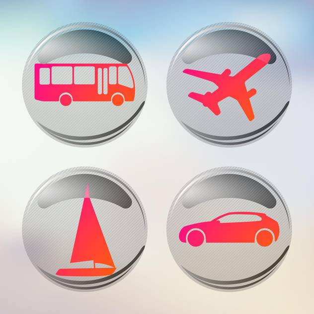 vacation and travel icons set - Free vector #134988