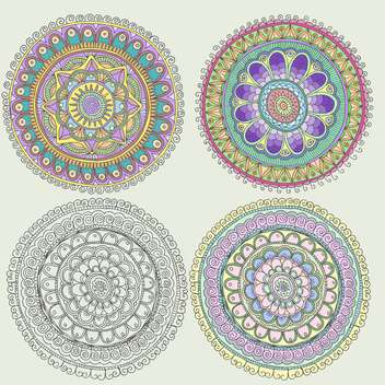 set of traditional round folk ornaments - vector gratuit #134998