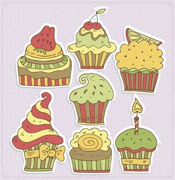 delicious cartoon cupcakes vector illustration - Kostenloses vector #135008
