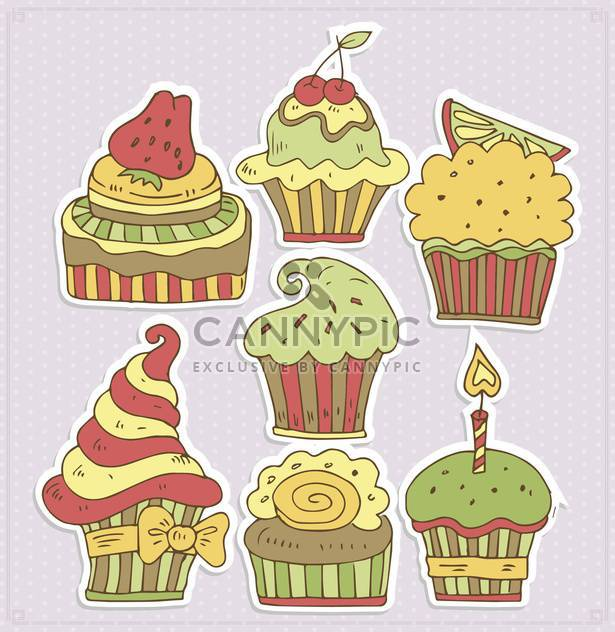 delicious cartoon cupcakes vector illustration - Free vector #135008