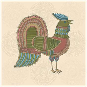 farm cock illustration in ethnic style - vector gratuit #135018