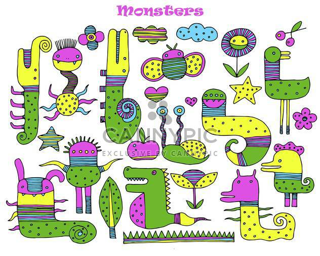 banner with multicolored cartoon monsters - Free vector #135068