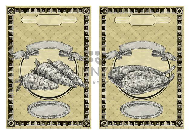 vintage banners with carrot and squash - Free vector #135078