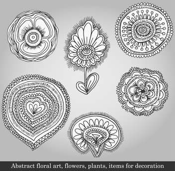 flowers and plants for decoration on grey background - vector gratuit #135088