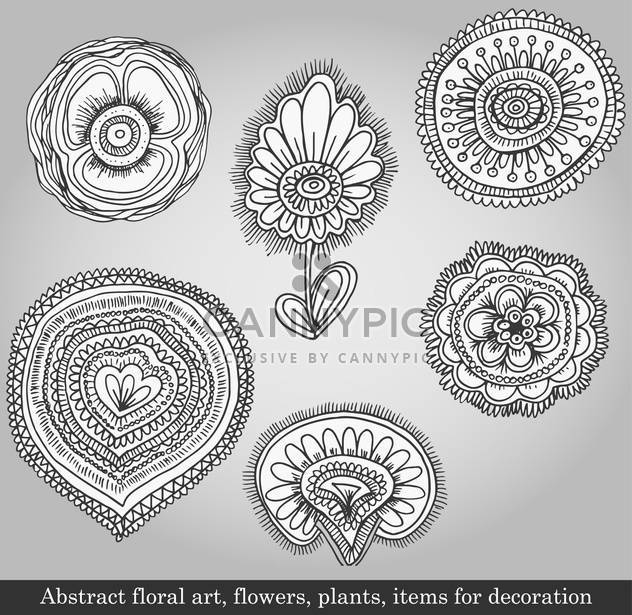 flowers and plants for decoration on grey background - Free vector #135088