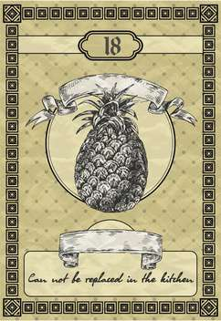 banner with pineapple in vintage style - vector gratuit #135098