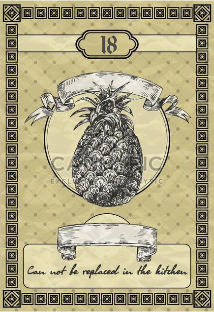 banner with pineapple in vintage style - Free vector #135098