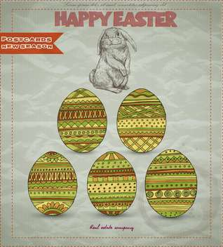 retro easter card with bunny and eggs - Free vector #135128