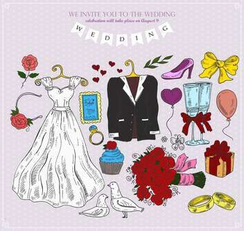 set of wedding attributes vector illustration - Free vector #135158