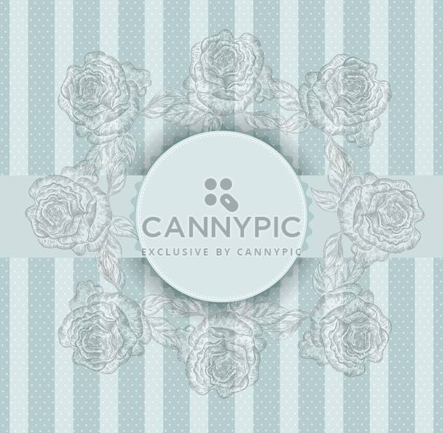 Vector vintage blue frame with flowers - Free vector #135248