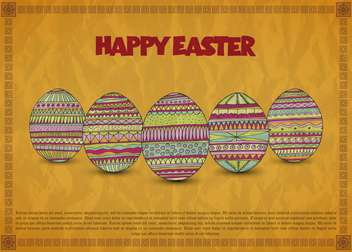 Vintage Easter card with colorful holiday eggs - vector #135318 gratis